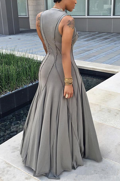 Fashion Boat Neck Sleeveless Ruched Grey Cotton Floor length Dress