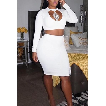 Sexy Round Neck Long Sleeves Hollow-out White Qmilch Two-piece Skirt Set