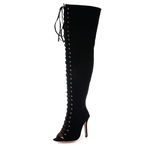 moda rodada peep toe lace-up oca-out preto de camurça stiletto calcanhar super alta sobre o joelho botas