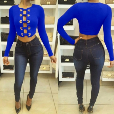 Sexy Round Neck Long Sleeves Hollow-out Royalblue Knitting T-shirt