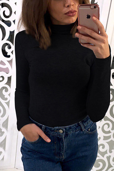 Euramerican Turtle Neck Long Sleeves Black Cotton T-shirt