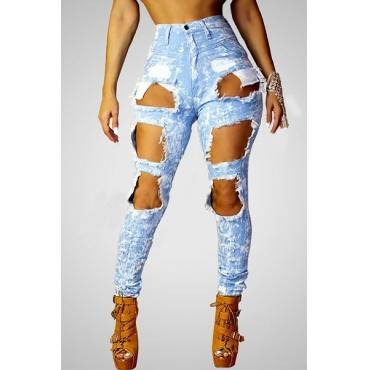 stilvolle hohe Taille gebrochen Löcher blauen Hosen Denim