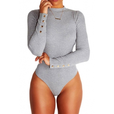 Euramerican Round Neck Long Sleeves Button Design Grey Cotton One-piece Skinny Jumpsuits