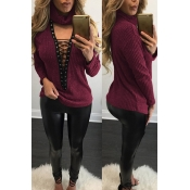 Sexy Round Neck Long Sleeves Hollow-out Wine Red Cotton Sweater