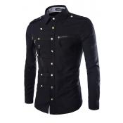 Euramerican Turndown Collar Long Sleeves Metal Button Design Black Cotton Blends Men Clothes