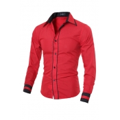 Stylish Turndown Collar Long Sleeves Patchwork Red Cotton Men Clothes