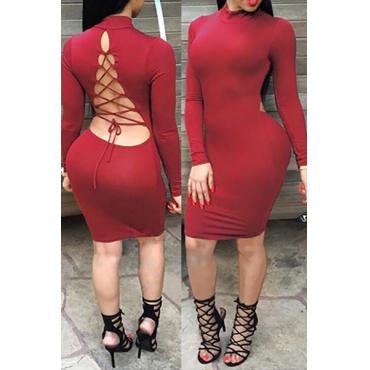 Reizvolle mandarine-Kragen-lange Hülsen backlace-up Höhle-heraus rote Baumwollmischungs-Hüllenknielänge Kleid
