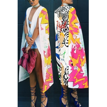 Euramerican Cape Design Printed White Polyester Trench Coats
