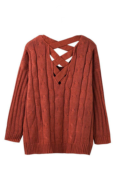 Trendy V Neck Long Sleeves Hollow-out Orange Acrylic Sweater