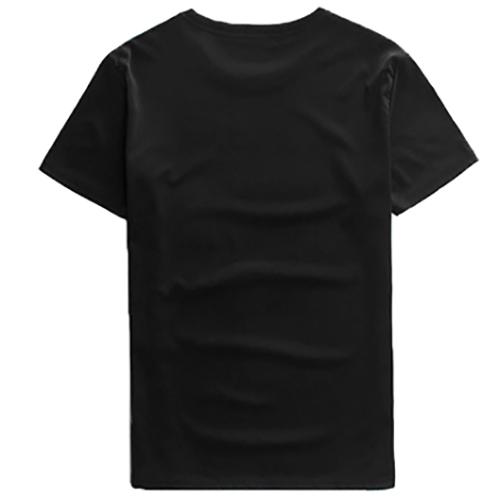 Leisure Round Neck Short Sleeves Printed Cotton T-shirt