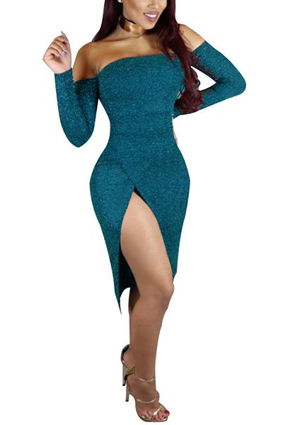 Sexy Bateau Neck Long Sleeves High Split Dark Blue Cotton Knee Length Dress