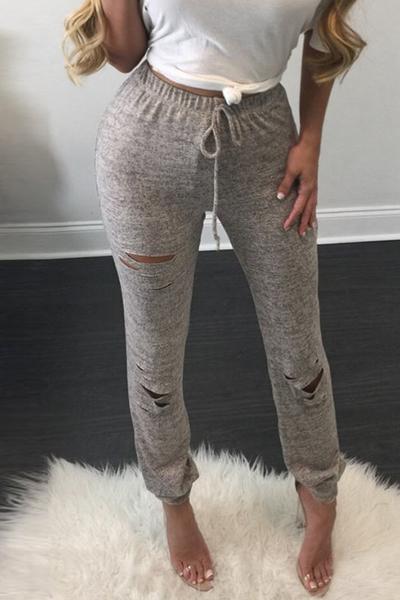 Lazer cintura elástica furos quebrados cinza algodão misturas leggings