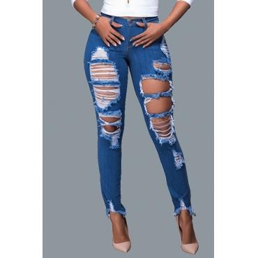 Fashion Mid Waist Broken Holes Blue Cotton Pants