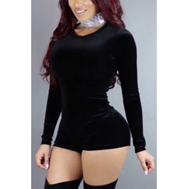 Stylish Round Neck Long Sleeves Black Velvet One-piece Skinny Jumpsuits