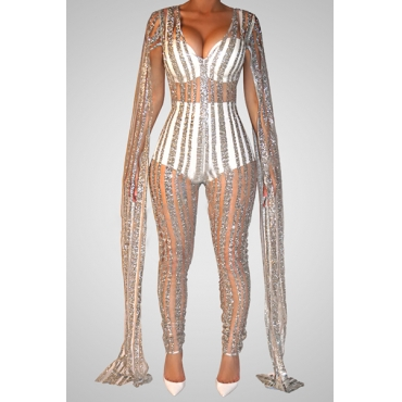 Sexy V Neck Long Sleeves See-Through Silver Sequined One-piece Jumpsuits(PRE SALE)