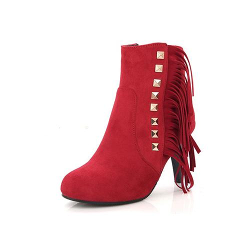 Стильный круглый носок кисточкой дизайн шпильках высокой пятки красные замшевые сапоги