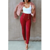 Stylish High Waist Double-breasted Decorative Wine Red Cotton Skinny Pants