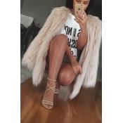 Euramerican Round Neck Long Sleeves Khaki Faux Fur Coat