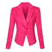 Euramerican Turndown Collar Long Sleeves Single-breasted Design Rose Red Blending Suit
