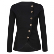 Trendy Round Neck Long Sleeves Single-breasted Design Black Polyester Suit
