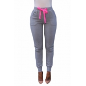 Euramerican Elastic Waist Lace-up Light Grey Cotton Skinny Pants
