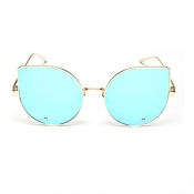 Euramerican Cat's Eye Shaped Blue Metal Sunglasses