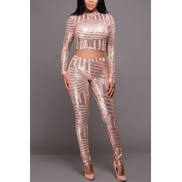 Euramerican Turtleneck Long Sleeves Sequined Decorative Gold Nylon Two-piece Pants Set