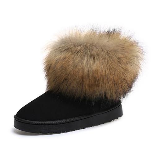 Cargadores bajos planos de moda de la nieve del cortocircuito del ante del diseño de la piel del dedo del pie redondo de moda