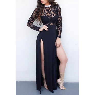 Sexy Round Neck Long Sleeves See-Through High Split Black Qmilch Ankle Length Dress(Without Accessories)