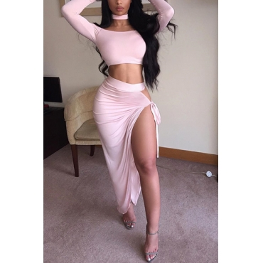 Sexy Bateau Neck Long Sleeves High Split Pink Polyester Two-piece Skirt Set( Include Necklace)