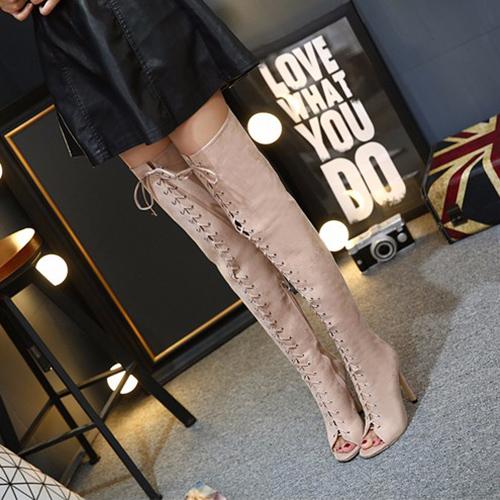 модный круглый Peep Toe на шнуровке полым из шпилек супер высокой пятки абрикос замша над ботинками колена