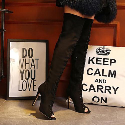 Elegante rodada peep toe stiletto super salto alto botas de camurça preta