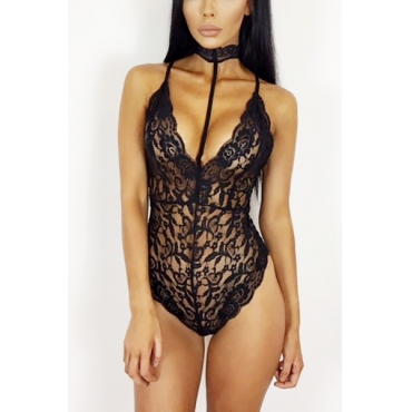 Sexy Halter V Neck Sleeveless See-Through Black Lace One-piece Skinny Jumpsuits