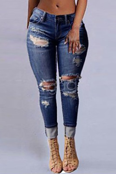 Stylish High Waist Broken Holes Dark Blue Denim ...