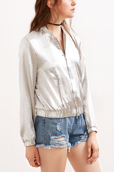 Leisure Round Neck Long Sleeves Zipper Design Silver Cotton Coat
