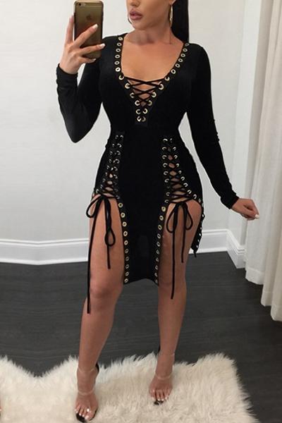 Sexy cuello en V mangas largas de encaje hasta hueco a cabo Negro Mini vestido de tela sana