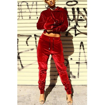 Leisure Hooded Collar Long Sleeves Red Velvet Two-piece Pants  Set