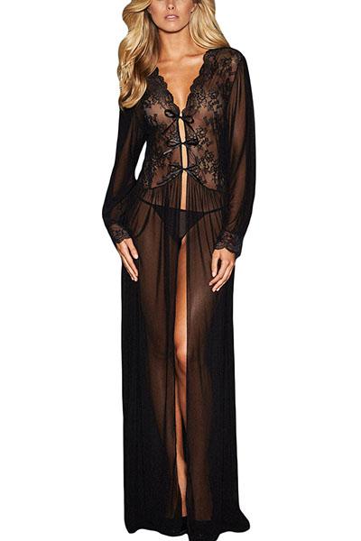 Сексуальная V-образная вышивка с длинными рукавами Прозрачная черная полиэфирная длинная ночная рубашка (включает в себя краткие описания)