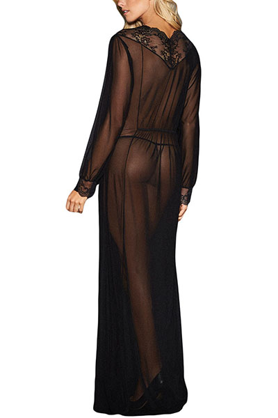 Sexy V Neck mangas compridas See-Through Black Polyester Extended Nightgown (Inclui Briefs)