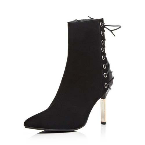 stylish pointed toe lace up stiletto high heel black suede