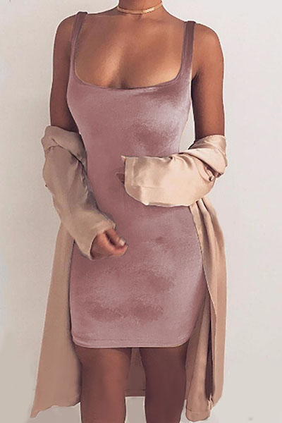 square collar sleeveless backless pink polyester mini