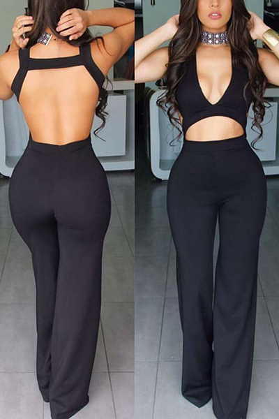 Sexy V Neck Sleeveless Backless Black Healthy Fabric One-piece Skinny Jumpsuits