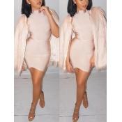 Trendy Long Sleeves Flesh Pink Faux Fur Coat