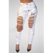 Trendy High Waist Broken Holes White Denim Pants