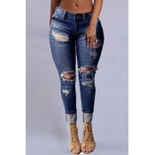 Stylish High Waist Broken Holes Dark Blue Denim Je