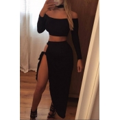 Sexy Bateau Neck Long Sleeves High Split Black Polyester Two-piece Skirt Set
