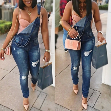 Stylish Spaghetti Strap Sleeveless Broken Holes Blue Denim One-piece Jumpsuits