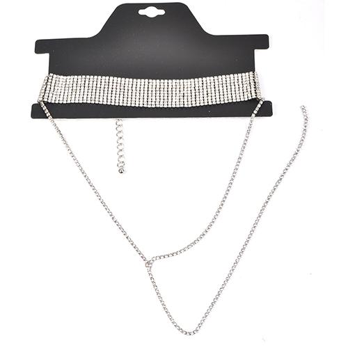 Euramerican Rhinestone Decorative Silver Crystal Necklace