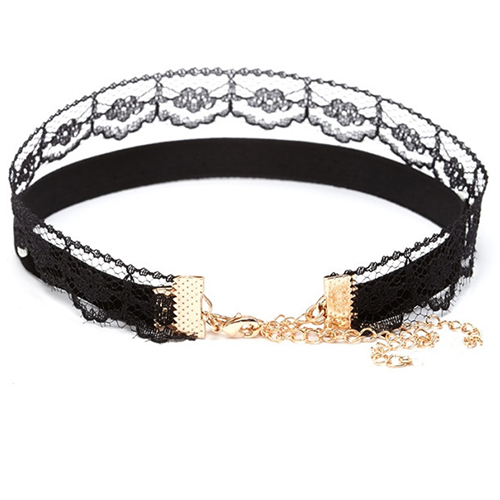 Fashion Lace Trim Patchwork Black Bud Silk Choker