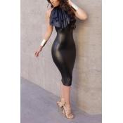 Trendy Round Neck Sleeveless Falbala Design Black Leather Sheath Knee Length Dress